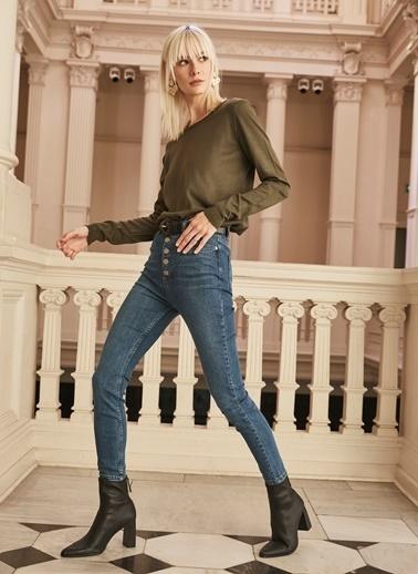 People By Fabrika Düğme Detaylı Skinny Jean Pantolon İndigo